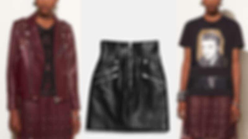 鉚釘騎士皮夾克NT59,800,高腰皮短裙NT29,800,Elvis圖像上衣NT9,900。