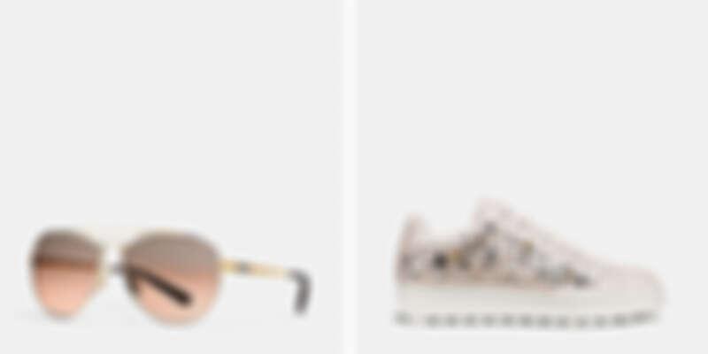 金屬框飛行員墨鏡NT6,300、鉚釘裝飾休閒鞋NT15,800。