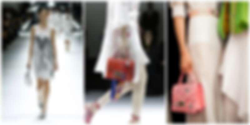 由左至右:SHIATZY CHEN 引光裁雲銀色百褶洋裝、玩味結構小箱包、刺繡小箱包