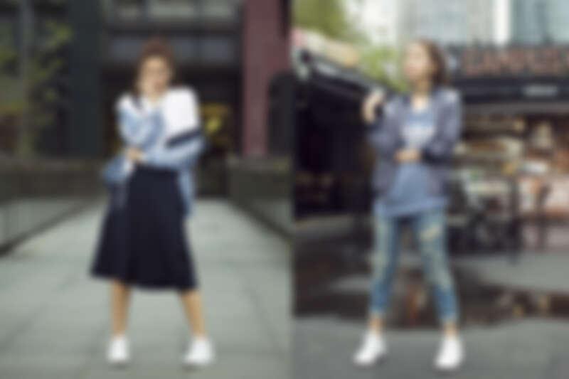 左圖:藍色連帽外套,NT$3,490/ 內搭白色圓點T-Shirt,NTD $1,690/ 吊帶寬褲,NTD $2,890 右圖:棒球外套,NTD $3,290 / 藍色圓點長板背心,NTD $1,490/ 金色Stan Smith,NT$3,290;以上皆為adidas Originals (破壞感牛仔褲,編輯個人私物)
