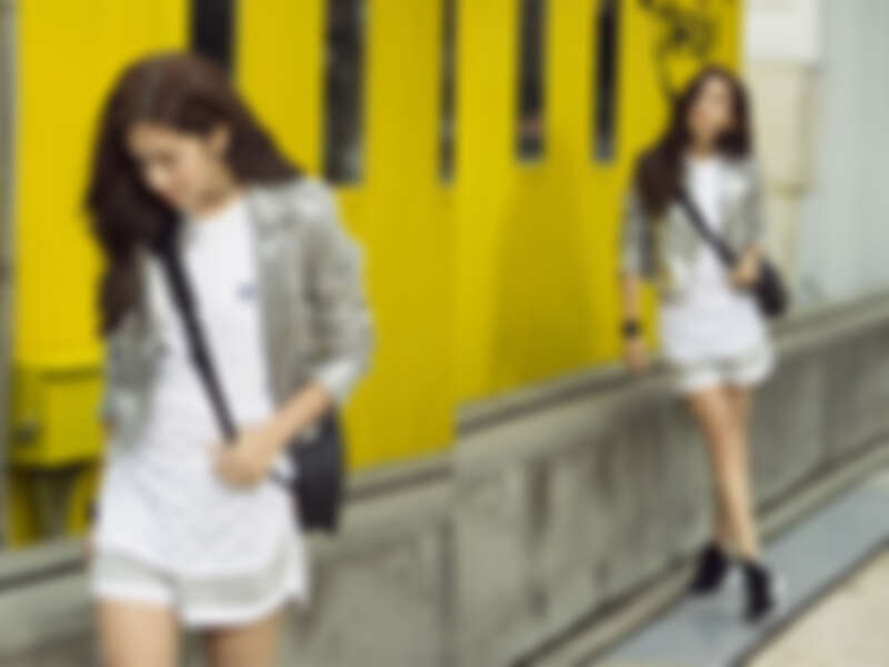 白色圓點長版背心,NTD $1,490/灰白短褲,NTD $1,690/ Tubular Defiant,NTD $4,490 ;以上為adidas Originals (金屬夾克,編輯個人私物)