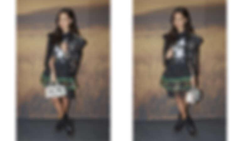 皮革背心NT66,800、Elvis圖像上衣NT14,800、印花透視短裙NT23,800、Tea Rose Double Dinky手袋NT42,800、莫卡辛厚底靴NT23,800。