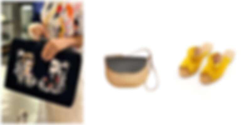 由左至右:AXES選品,Just In Case春夏新品、LLAGUT肩背包、ZOODY櫻花草黃手工鞋