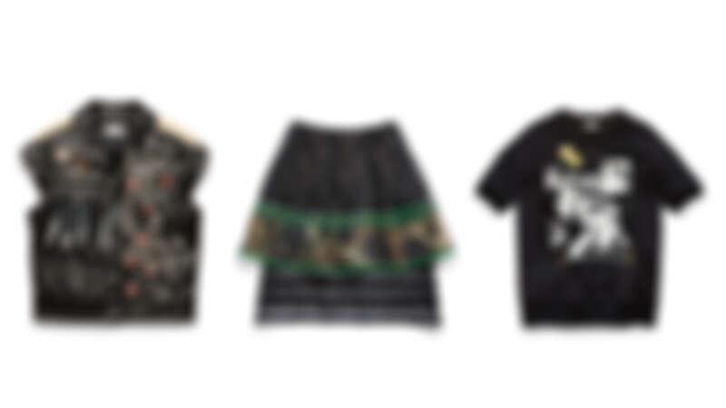 鉚釘裝飾皮革背心NT66,800、透視層疊短裙NT23,800、Elvis短袖上衣NT14,800。