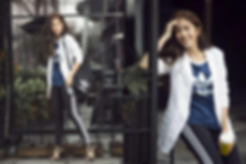 圓領T-Shirt,NTD $1,290/ Leggings,NT$1,290;以上為adidas Originals(西裝外套、高跟鞋為編輯個人私物)