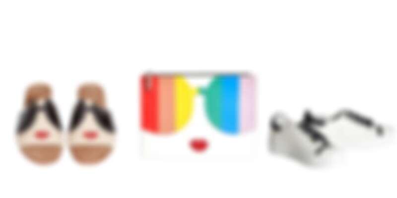 由左至右:alice+olivia Stace Face拖鞋、彩虹Stace Face手拿包、白色嘴唇運動鞋