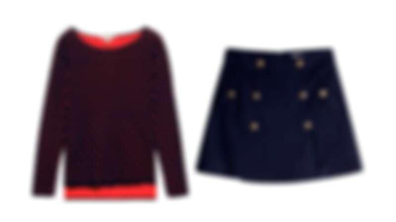 圓點針織衫,NT$2490/雙排釦短裙,NT$2490