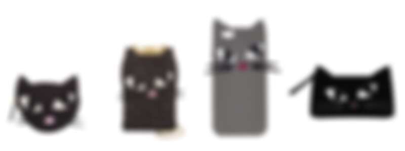 (由左至右) 貓咪亮片零錢包NT3,680/ 迷你貓咪側背包NT 7,280/ 貓咪手機套NT2,180/ 貓咪漆皮化妝包NT3,980