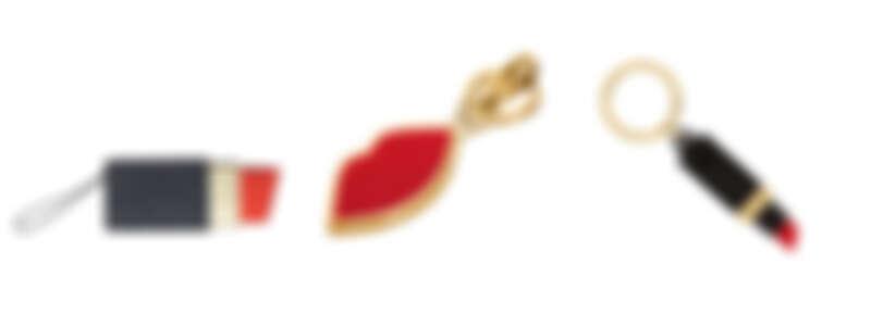 (由左至右) 口紅亮片零錢小物包NT4,980/ 紅唇鑰匙圈NT2,680/ 口紅鑰匙圈NT2,680