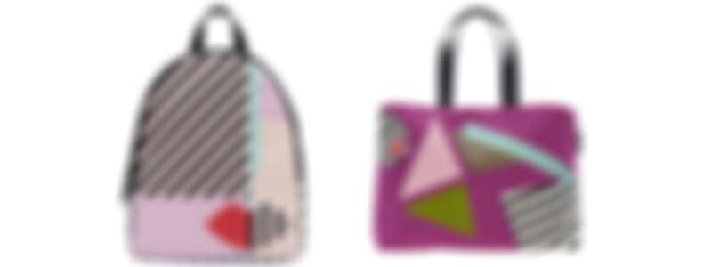 (由左至右) 幾何娃娃臉後背包NT7,680/ 幾何女孩托特包NT4,980