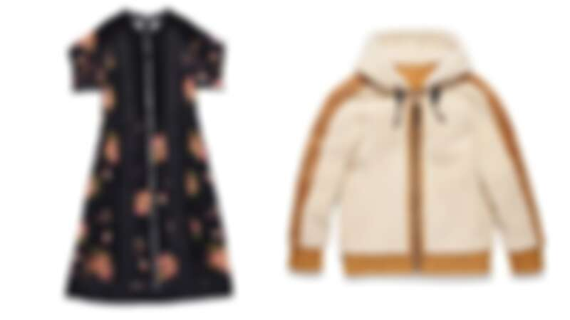 花卉圖案蕾絲雪紡洋裝NT32,800、翻皮羊毛連帽外套NT78,800。
