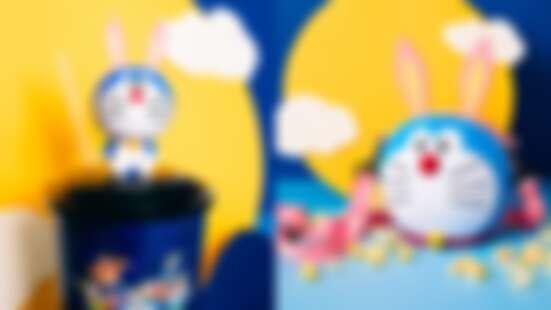 哆啦A夢化身粉紅月兔啦!威秀影城獨家推出哆啦A夢月兔爆米花桶,還有迷你Q版搖頭公仔太萌了