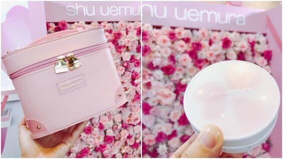櫻花花瓣緩緩掉落在粉盒上!不僅外型美,天氣再熱也不怕融妝、最適合夏天的植村秀花瓣肌柔焦氣墊粉餅