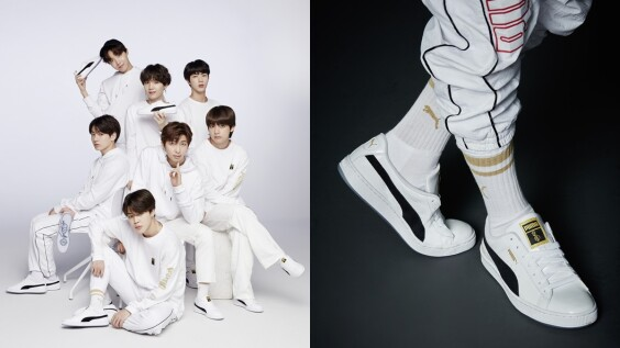 整雙的亮點是鞋底的驚喜!PUMA與BTS防彈少年團推出聯名經典球鞋
