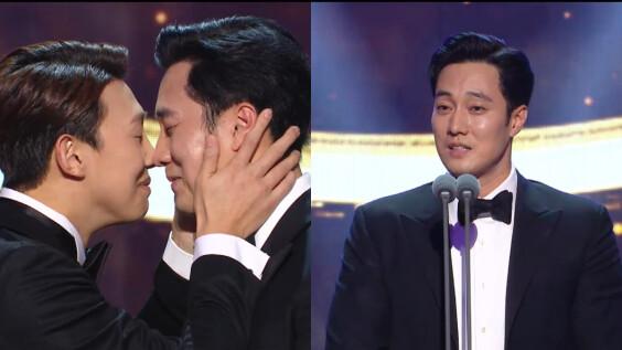 歐巴都臉紅啦!蘇志燮《我身後的陶斯》奪MBC大賞,重現男男鼻子親親畫面超害羞