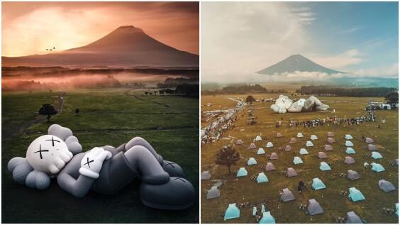40米巨型KAWS現身富士山!悠哉躺下看雲海爆炸可愛,首次舉辦露營活動、限量商品全被秒殺