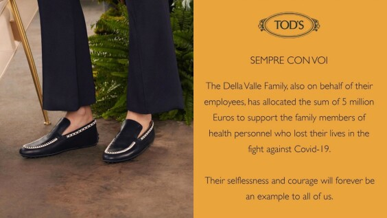 Tod's致敬義大利前線獻出生命的醫護勇士!捐款1.68億元,帳戶名稱有洋蔥