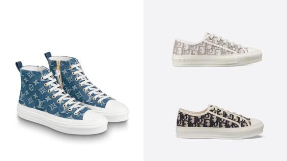 老花風一波接一波!Doir Oblique刺繡帆布鞋有了霧灰色、Louis Vuitton Stellar高筒運動鞋推出丹寧材質