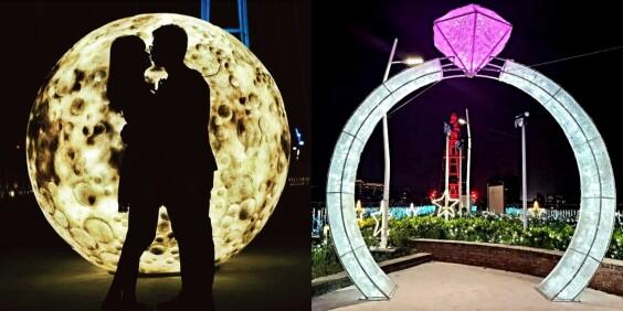 新北最新約會景點!新月橋出現「2公尺大仿真月亮、全台最大鑽戒」,浪漫指數破表