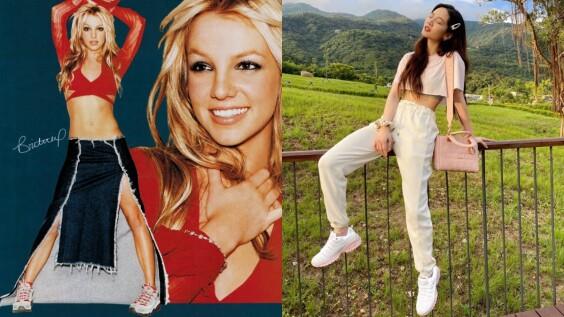 小甜甜布蘭妮20年前穿到爆紅的Skechers老爹鞋,20年後復刻款注入「冰淇淋色」變少女!真的超欠收
