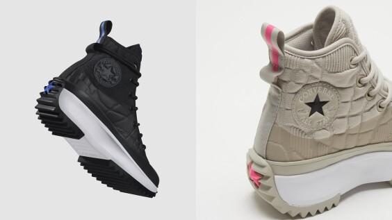 Converse熱賣款厚底帆布鞋再出奶油白!菱格紋印花、繞腳踝鞋帶,還有帥氣黑款式