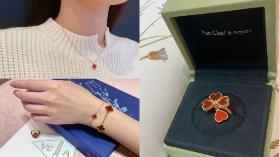 VCA四葉幸運草更迷你更可愛!Sweet Alhambra系列紅玉髓項鍊、手鍊與戒指,附細節與價格│試戴報告