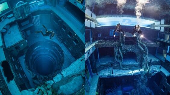 全球最深游泳池!杜拜Deep Dive Dubai打造水下60公尺「沉沒城市」,殘壁、老樹超壯觀,潛水愛好者必朝聖