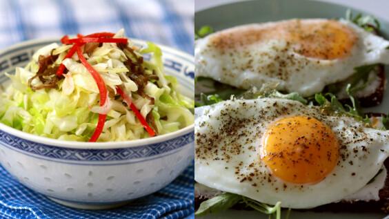 低脂高蛋白的酸辣高麗菜煎荷包蛋食譜來了!3步驟就能快手完成