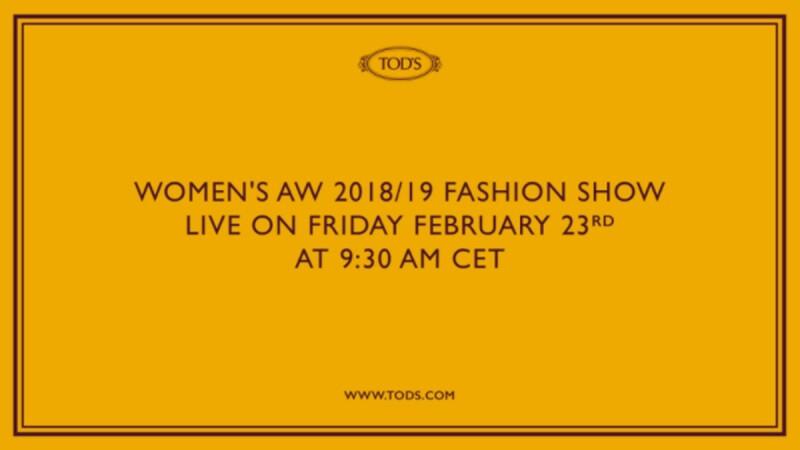 【Live】線上看!TOD'S 2018秋冬大秀,將在2/23下午4點半登場