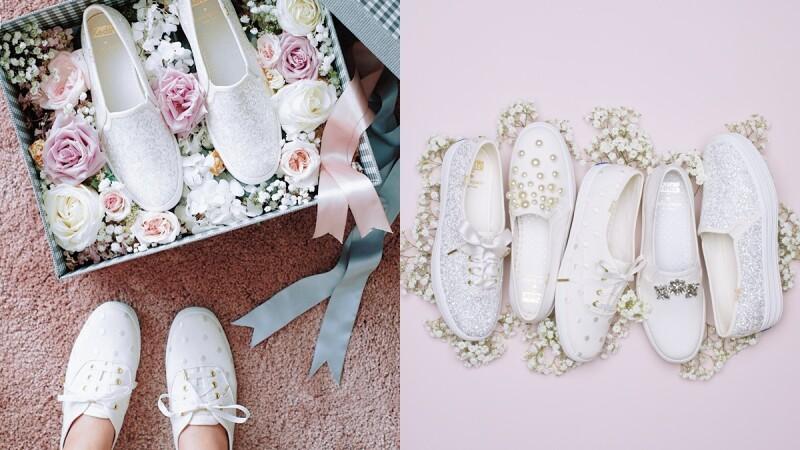 準新娘必收的超Q婚鞋!Keds X Kate Spade推出灑滿亮粉、珍珠小花的極簡風典雅小白鞋