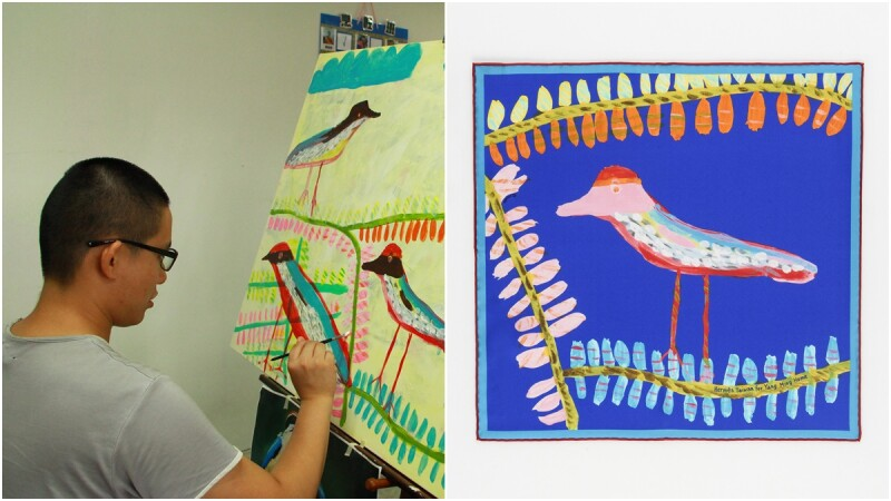 「不擅言語溝通的他,用畫筆傳達對生命的熱情」愛馬仕攜手身心障礙藝術家周帝全,做出台灣獨家的八色鳥限量絲巾
