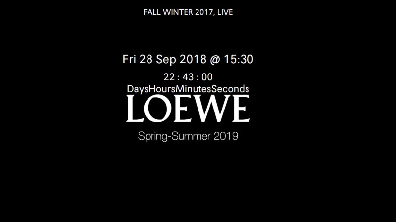 【Live】線上看!LOEWE 2019春夏時裝大秀,將在9/28凌晨3點半登場