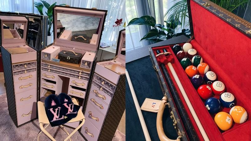 直擊私人豪宅中的LV秘密展覽!經典硬箱不只是旅行專用,竟也能化身茶几和夢幻化妝台!