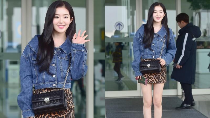 被稱為最強美貌真的沒話說!Red Velvet隊長Irene牛仔外套搭配豹紋短裙現身機場