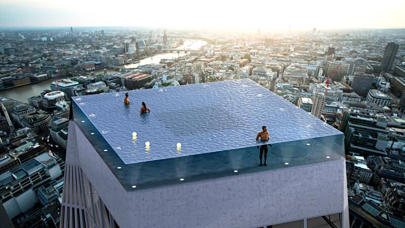 全球首座「360°無邊際透明泳池」將現身倫敦!Infinity London座落55層高樓頂部,迷幻燈光入夜根本是閃耀寶石