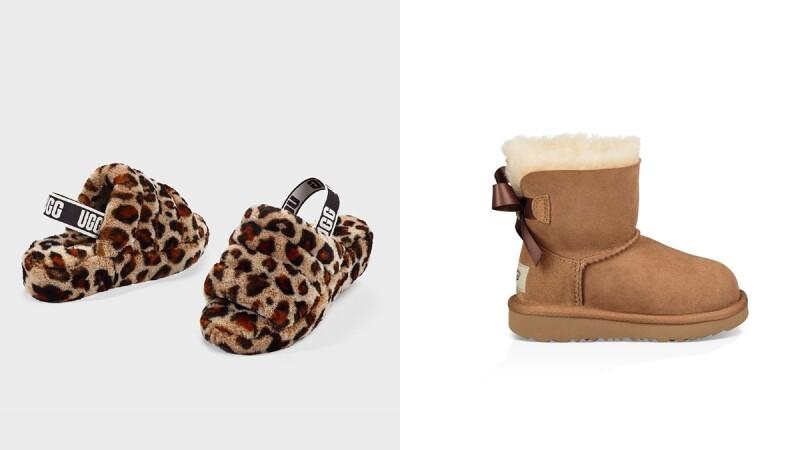 禦寒神器UGG毛茸茸FLUFF YEAH涼鞋推出豹紋款,還有童鞋系列的蝴蝶結經典雪靴