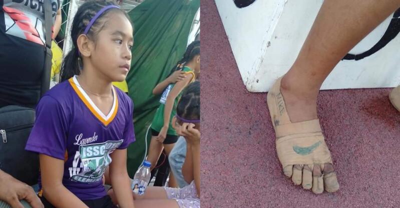 沒有名牌運動鞋,只有一顆想贏的心!菲律賓11歲小女孩自製繃帶「NIKE跑鞋」,一舉奪下田徑賽3金!