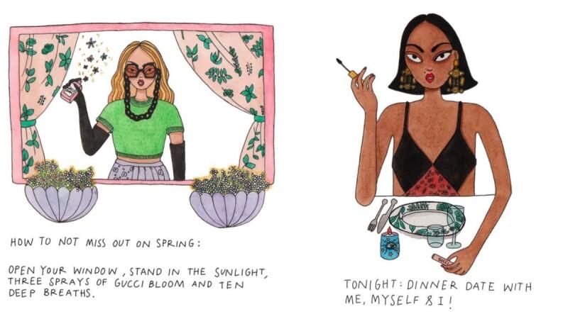 Gucci Beauty與藝術家 Emma Allegretti 合作,插畫畫出宅在家#StayAtHome的美好小事