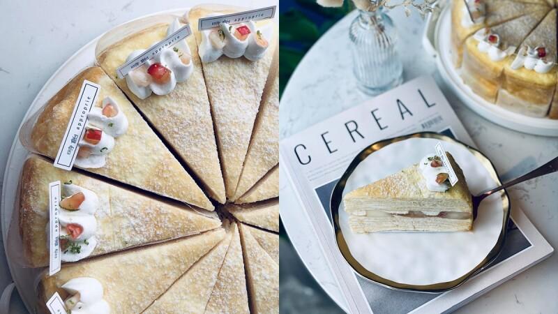 《時飴Approprié》粉嫩新口味來了!打造仙女系「白水蜜桃千層蛋糕」,夏季軟嫩多汁的幸福甜點