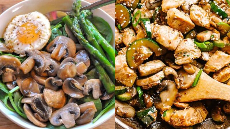 3道蘑菇瘦身料理:蘑菇綠花椰菜炒蝦仁/黑胡椒蘑菇蒜炒蘆筍/香辣蠔油炒磨菇食譜來了!