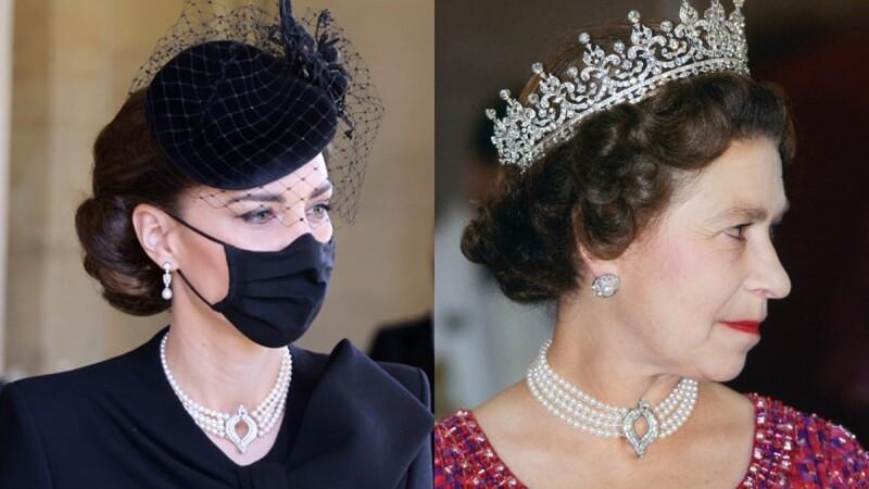 向菲利普親王致敬!凱特王妃出席葬禮配戴的珍珠項鍊,不只英國女王、黛安娜王妃都戴過,還有這些小故事