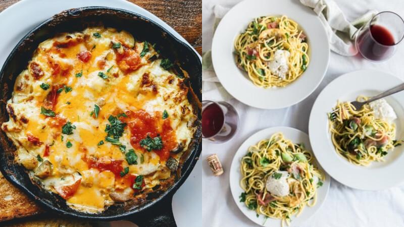 3道週末低脂餐推薦:開放式貝果+黑咖啡/蘑菇洋蔥北非蛋/涼拌雞胸肉義大利麵食譜了!