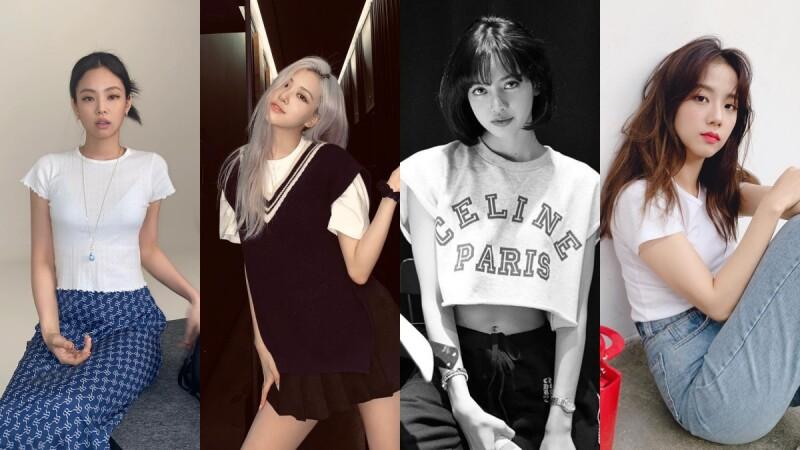 簡單學會Blackpink T-Shirt穿搭!看Jennie、Lisa、Jisoo、Rosè搭配牛仔褲、長裙、吊帶褲...夏天就應該這樣穿
