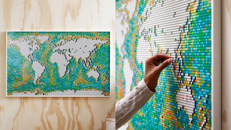 史上最大樂高盒組!「世界地圖」破萬件積木陪你環遊世界、能打造專屬繽紛洋流,拼完秒變家中最美風景