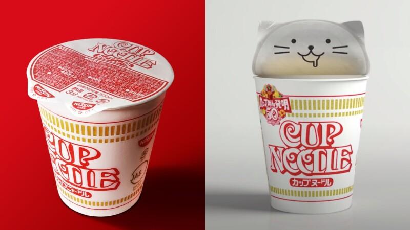 貓耳杯麵登場!日本日清泡麵50週年推「貓咪泡麵」包裝,貓耳造型、超萌表情,而且更環保