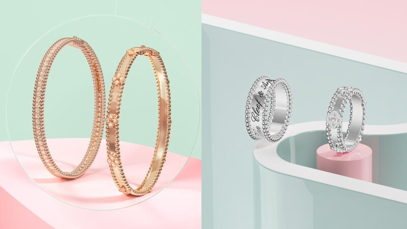 VCA珠寶推薦再+1!全新Perlée sweet clovers系列手鐲與戒指,四葉幸運草結合金質圓珠太討喜