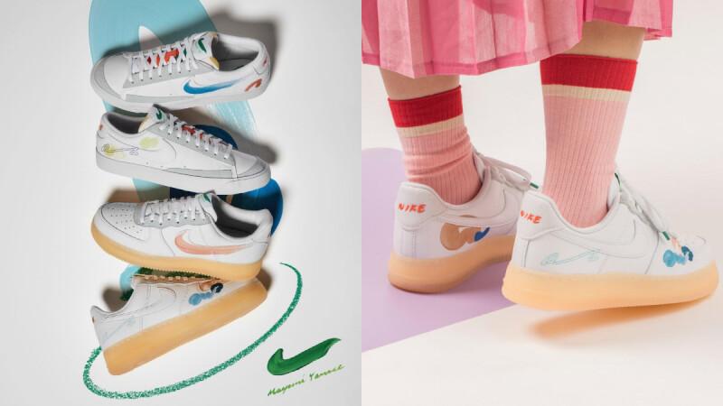 Nike熱賣球鞋Air Force 1、Blazer染上粉嫩馬卡龍色!聯手東京藝術家Mayumi Yamase打造夢幻手繪塗鴉聯名球鞋
