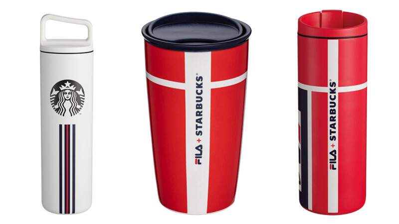 星巴克首度和FILA聯名啦!紅、藍、白經典三色結合條紋,一系列運動風杯款、包袋時髦上市