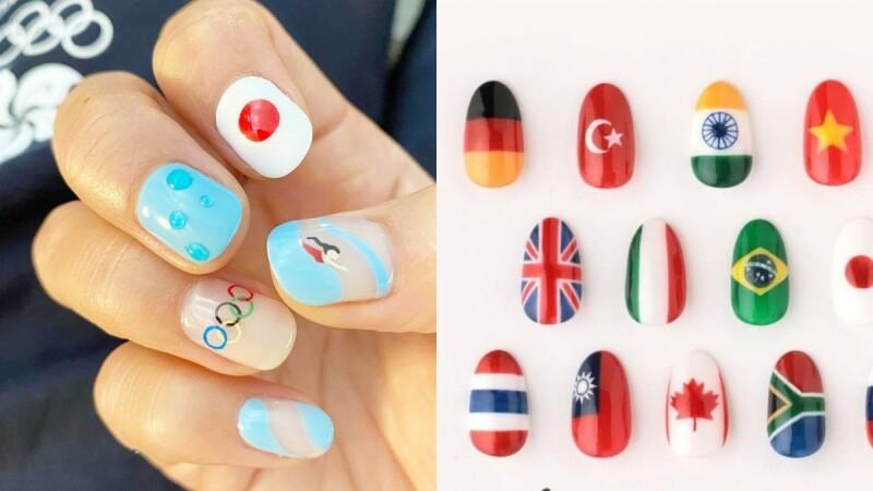 跟上2021東京奧運熱!奧林匹克五環的藍、黃、黑、綠、紅最熱門,15款奧運美甲為運動應援