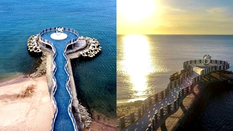 新北「芝蘭公園海上觀景平台」完工!57公尺水藍色長廊,成最新約會景點